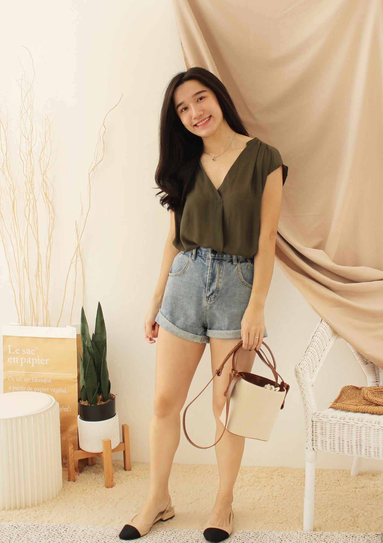 JAPAN ARMYGREEN BLOUSE