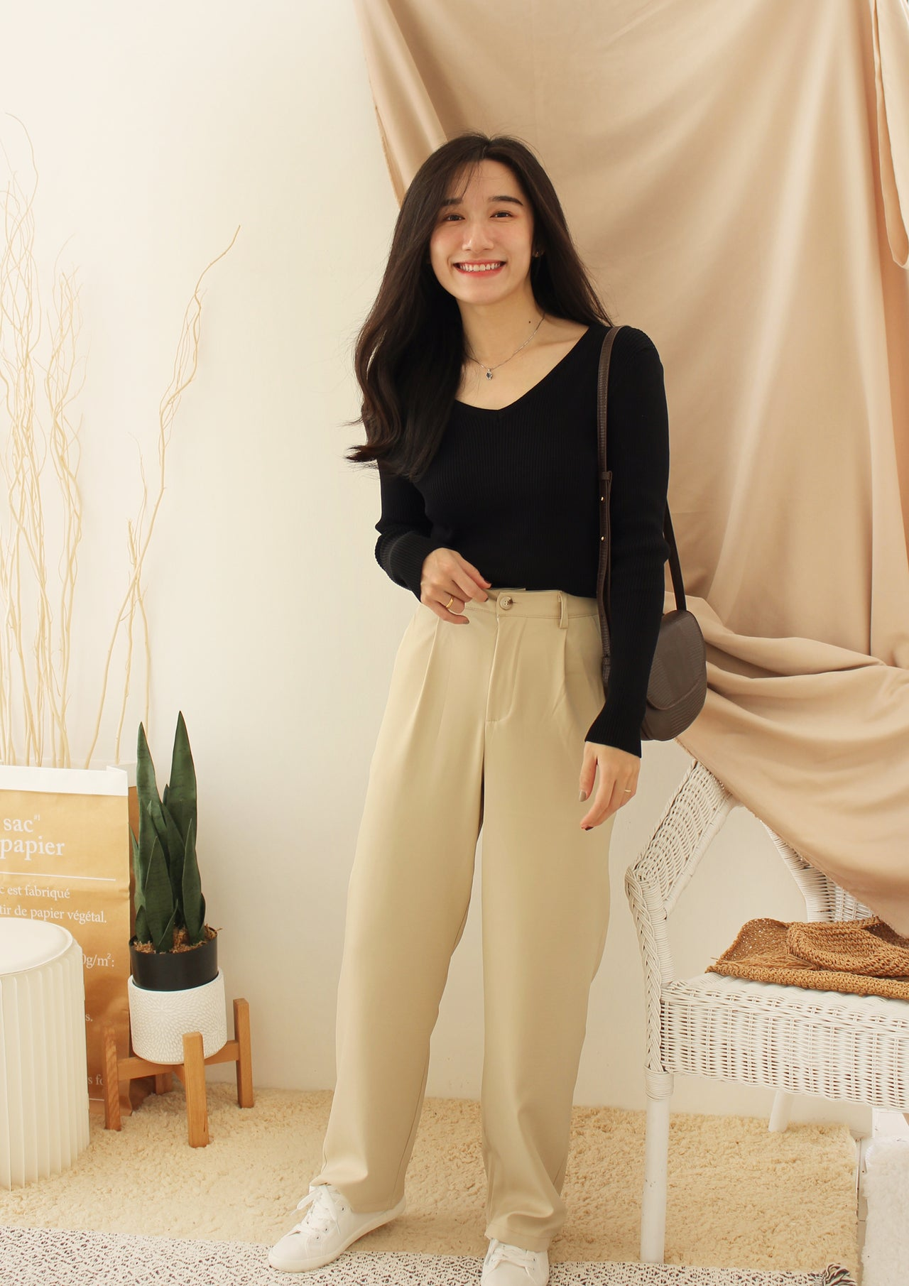 MENLO HIGH WAIST Beige Pants