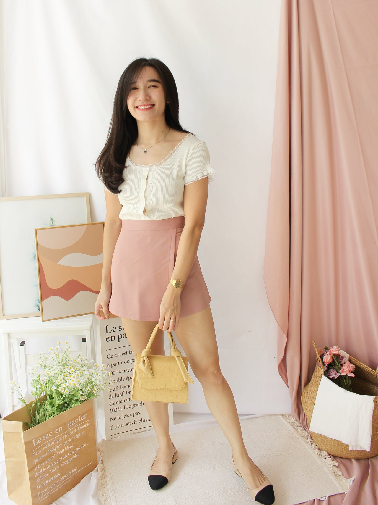 Eyelet Lace Button Top - LovelyMadness Clothing Online Fashion Malaysia