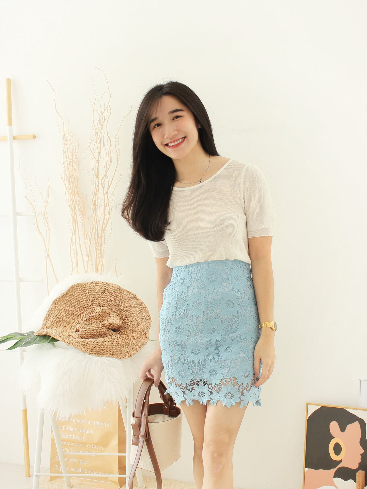 HELIA Lacey Skirt - LovelyMadness Clothing Online Fashion Malaysia