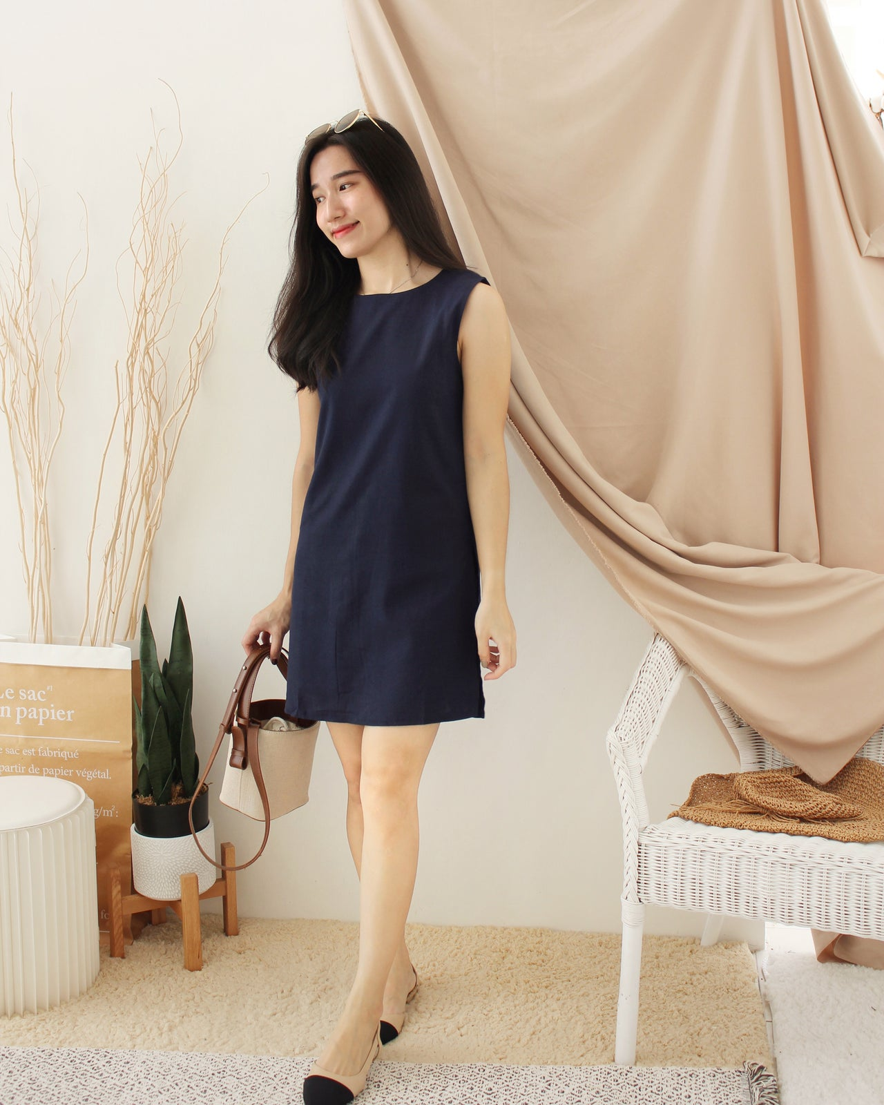 GRACE Navy Dress - LovelyMadness Clothing Malaysia