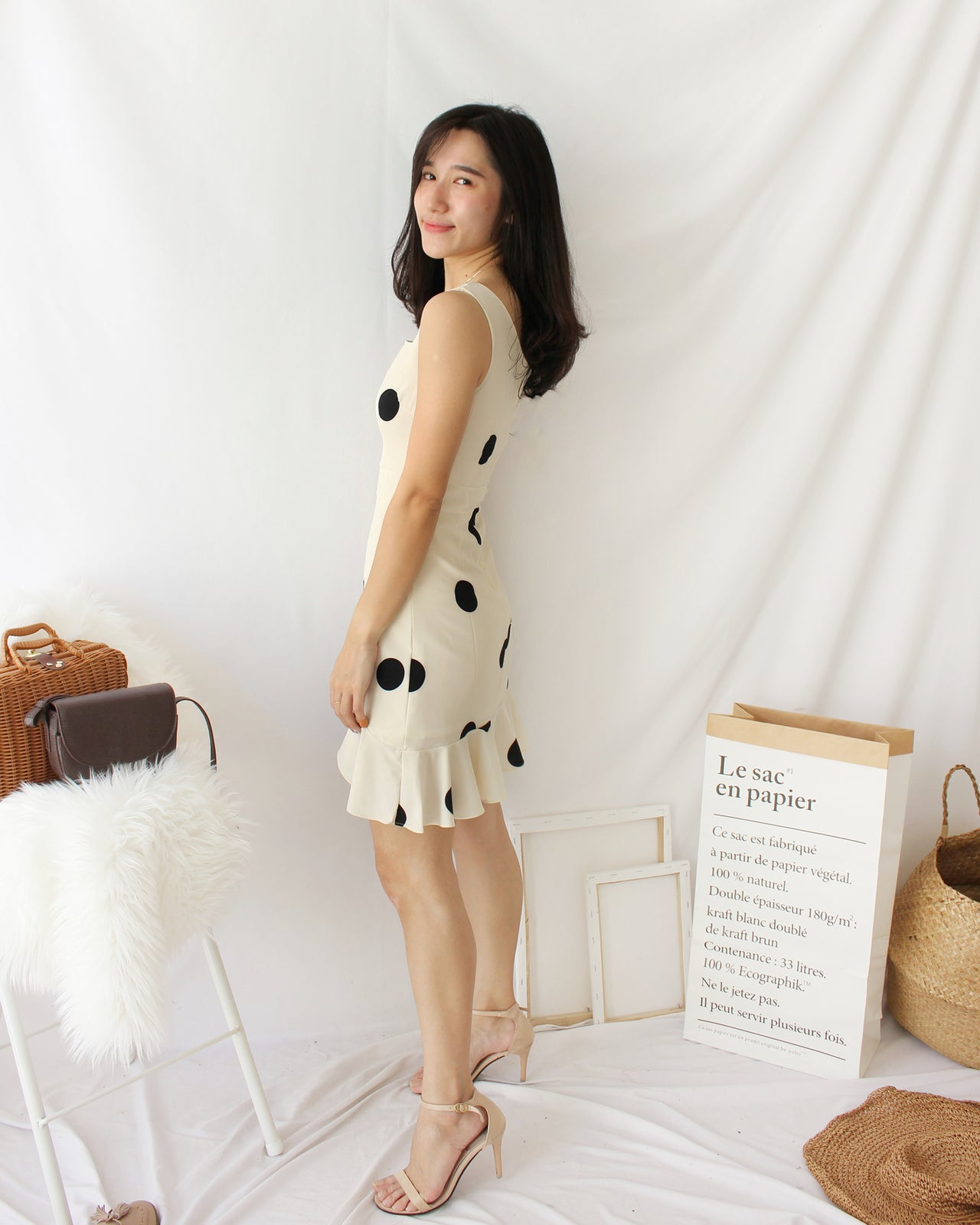 PolkaDots Ruffle Dress - LovelyMadness Clothing Online Fashion Malaysia