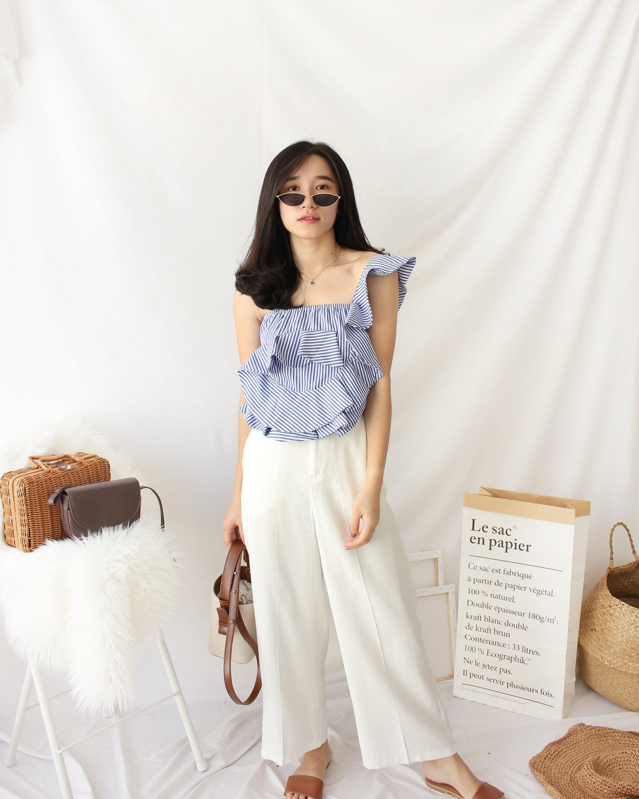 Rena Oblique Stripe Top - LovelyMadness Clothing Online Fashion Malaysia