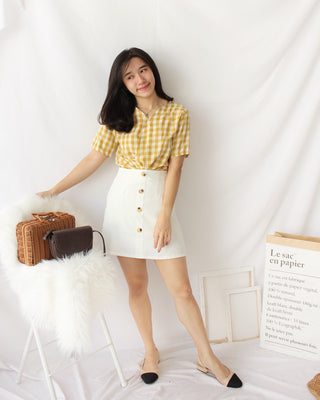Button Alined Skirt - LovelyMadness Clothing Online Fashion Malaysia