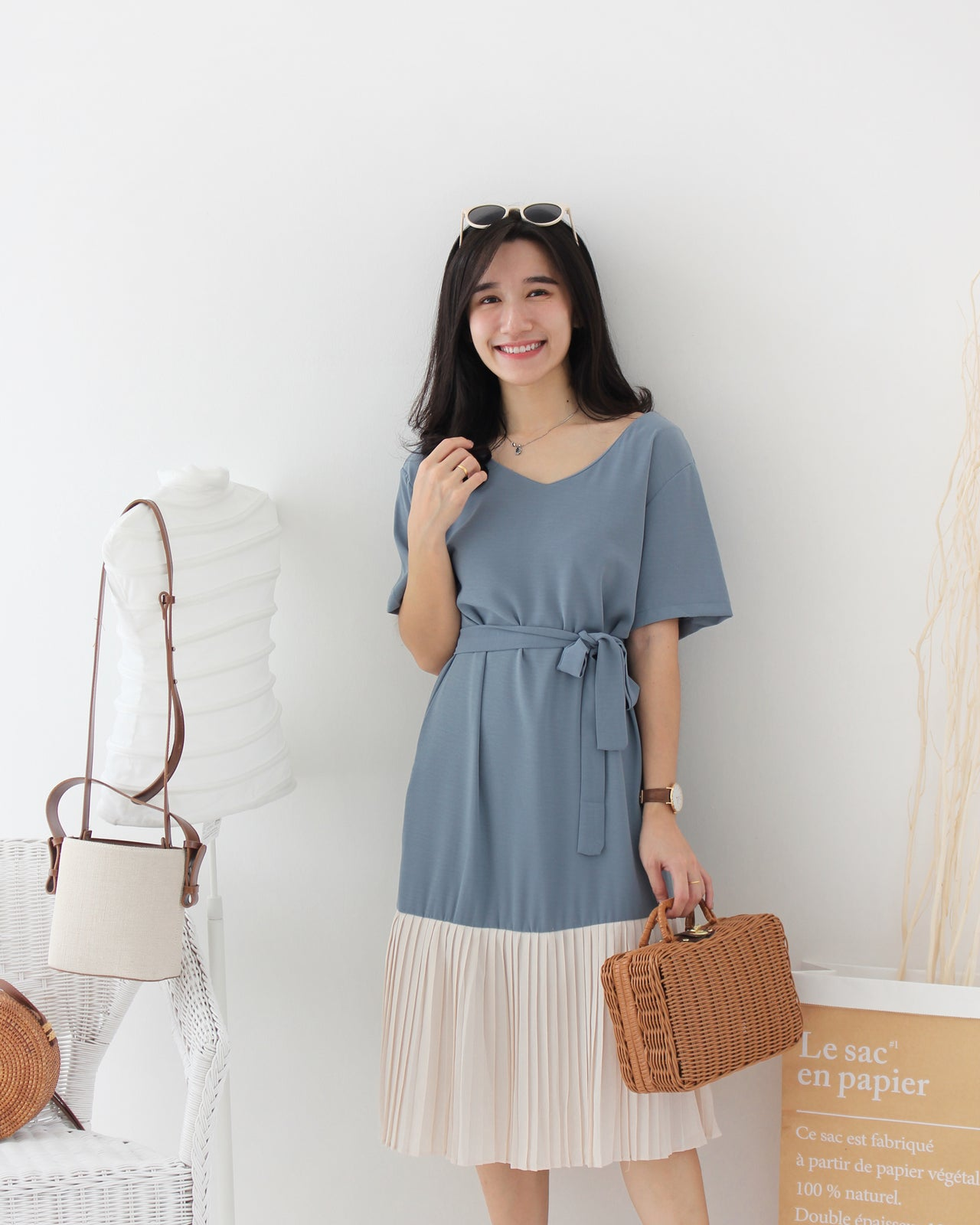 Pleated Contrast Dress - LovelyMadness Clothing Online Fashion Malaysia