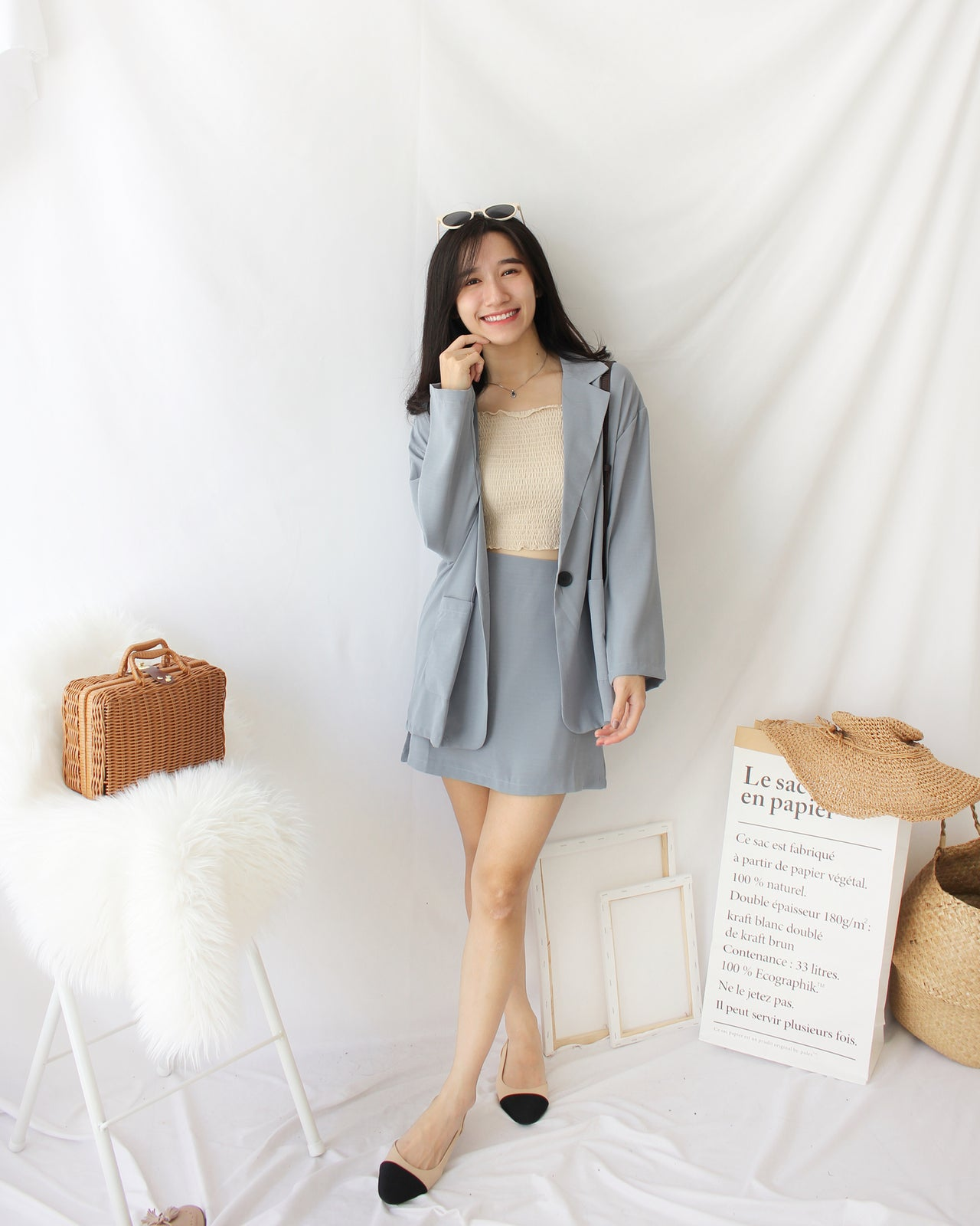 BLUE GREY Suit Set - LovelyMadness Clothing Online Fashion Malaysia