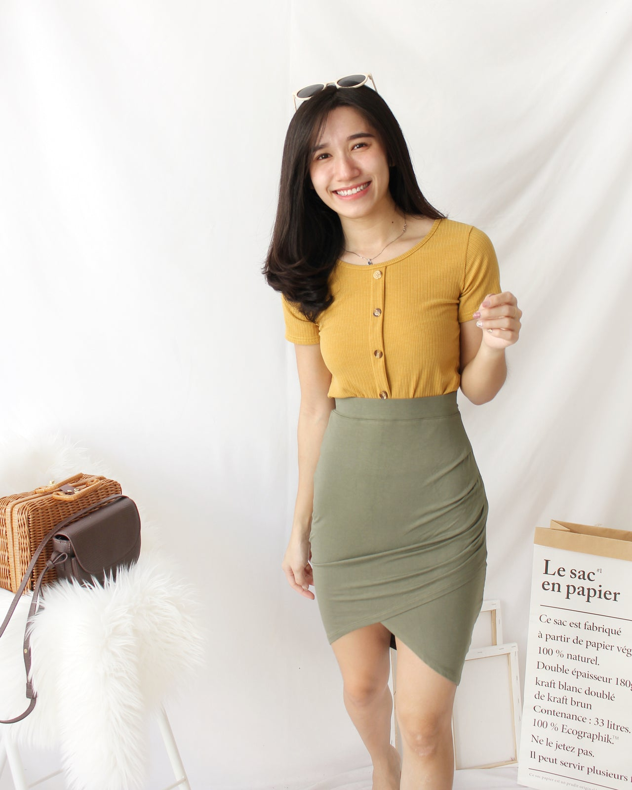 Cross Front Wrap Skirt - LovelyMadness Clothing Online Fashion Malaysia