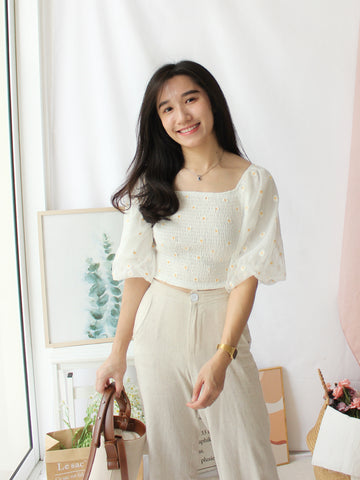 Puffy Button Top (BEIGE)