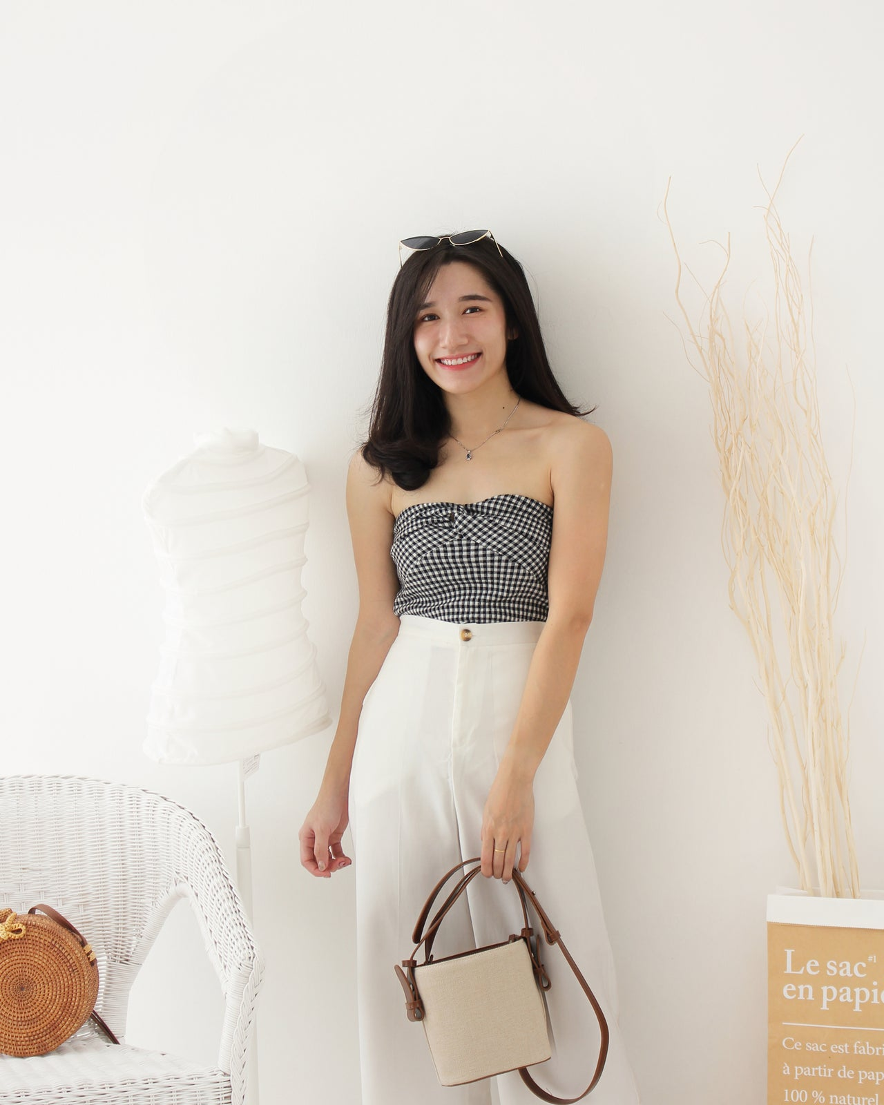 Houndstooth Tube Top - LovelyMadness Clothing Online Fashion Malaysia
