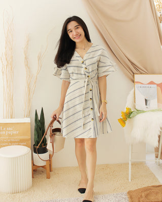 LIA RUFFLE Stripe Dress