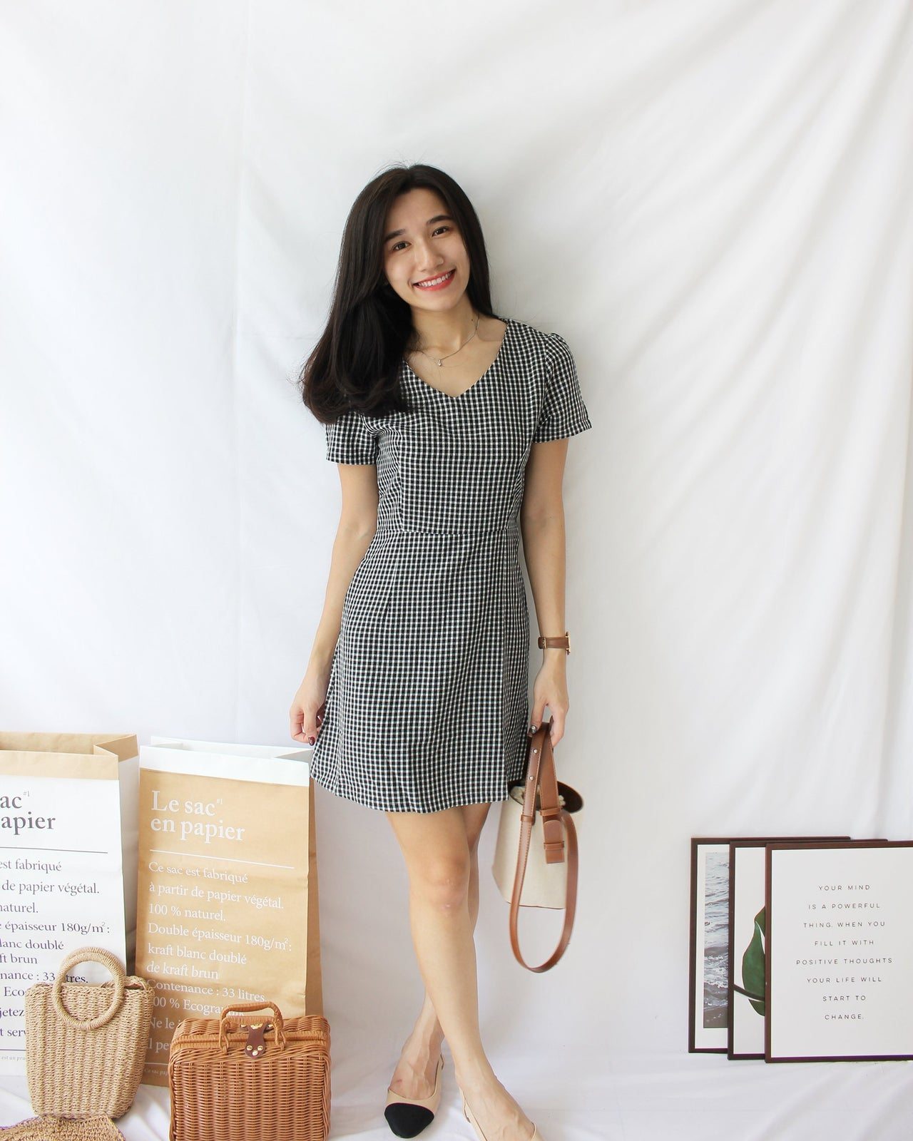 Checkered V Neck Dress - Lovely Madness