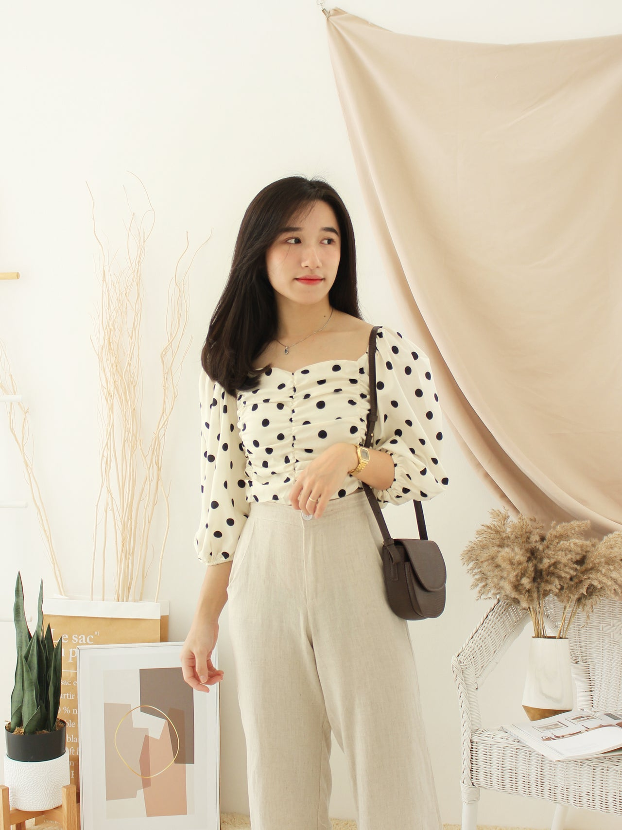 Creamy Polka Dots Top