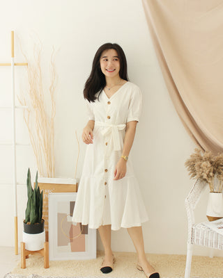 Korean White Long Dress