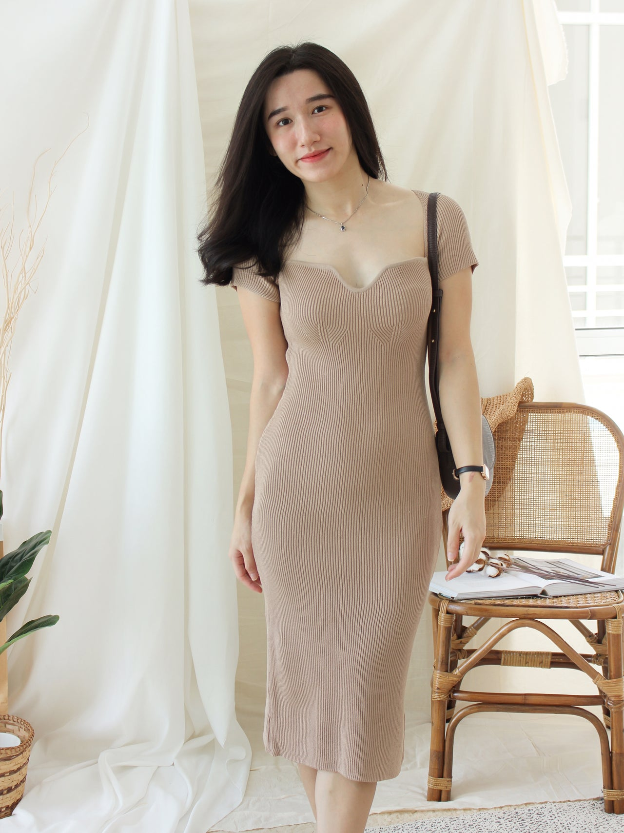 Zinny Checkered Long Dress - LovelyMadness Clothing Online Fashion Malaysia