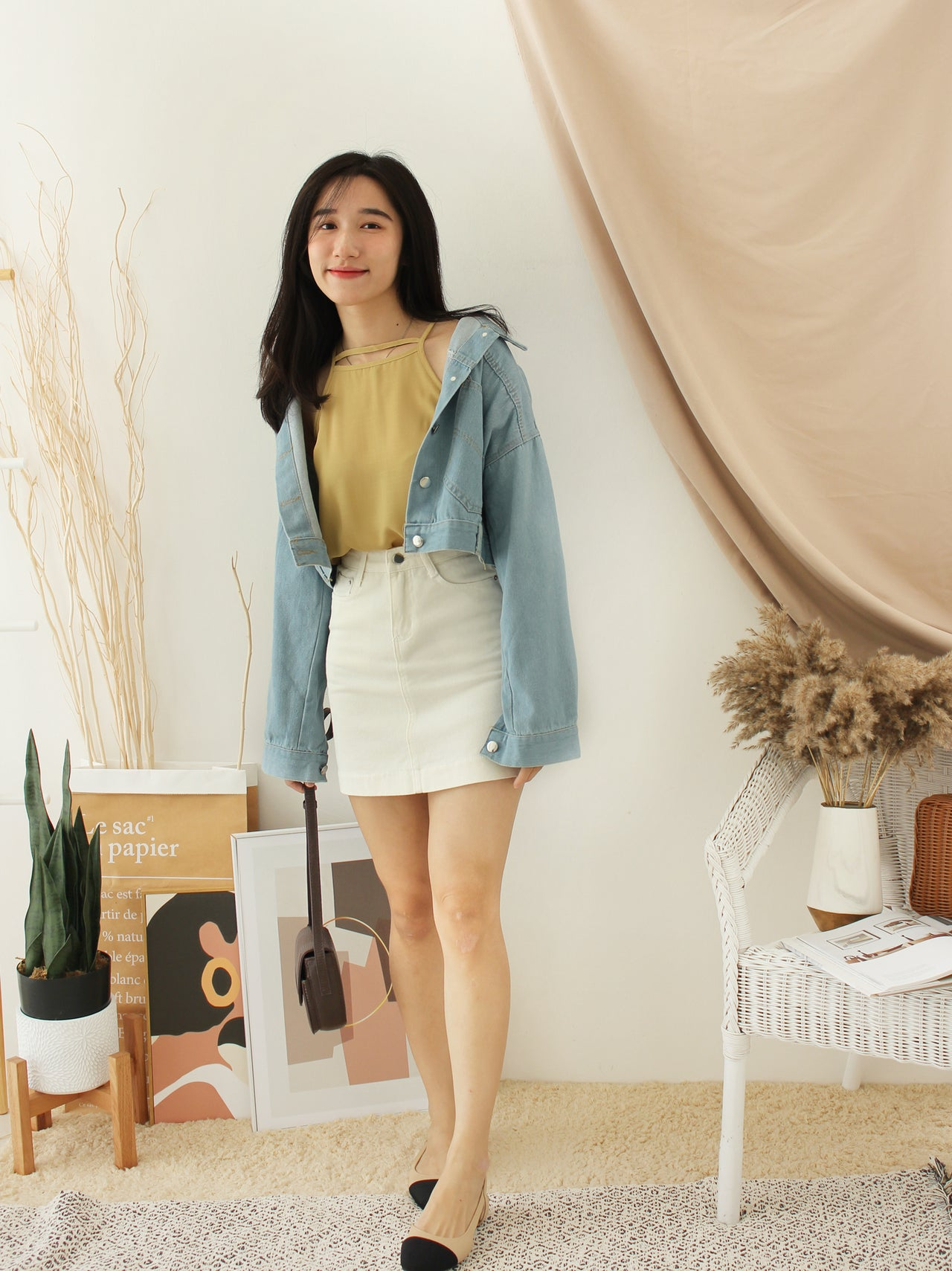Denim Cropped BatSleeve
