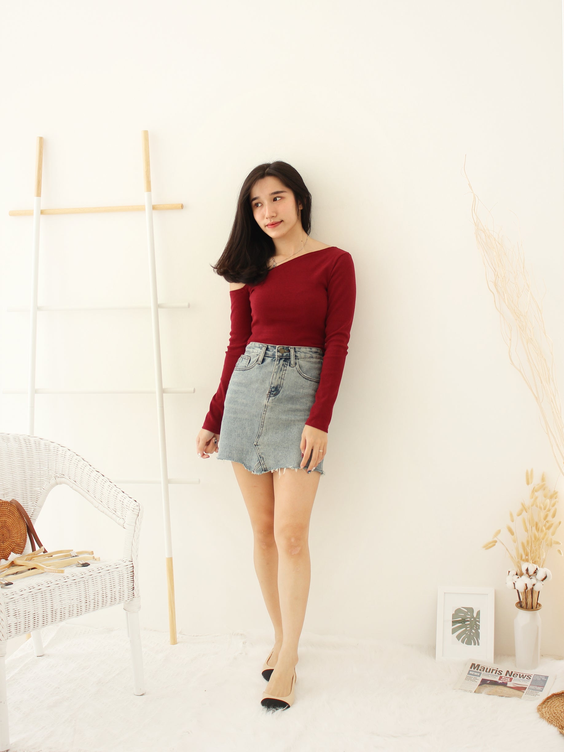 Carrie Oblique Top - LovelyMadness Clothing Online Fashion Malaysia