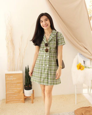 OLIVINE Checkered Dress