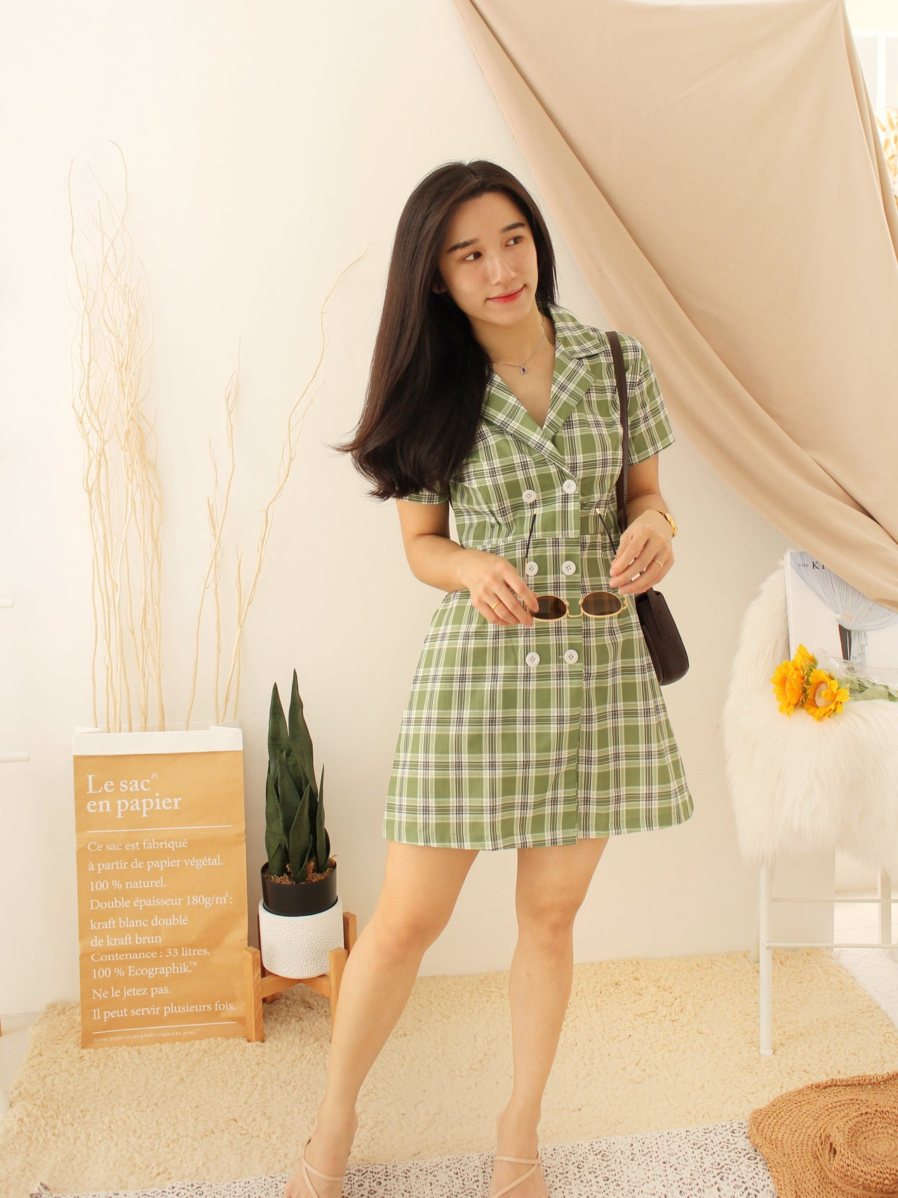 Michelle Checkered Dress - LovelyMadness Clothing Online Fashion Malaysia