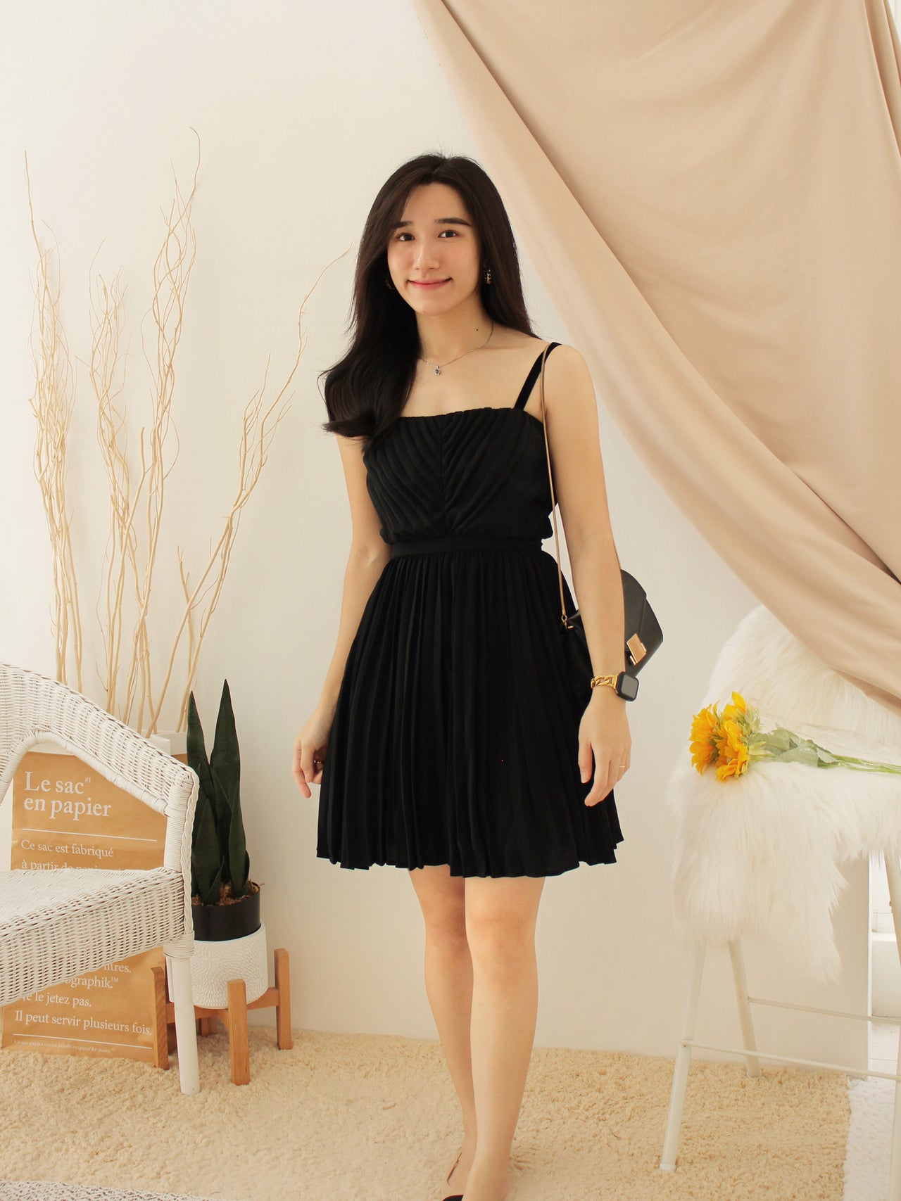 KIA Velvet Pleat Dress