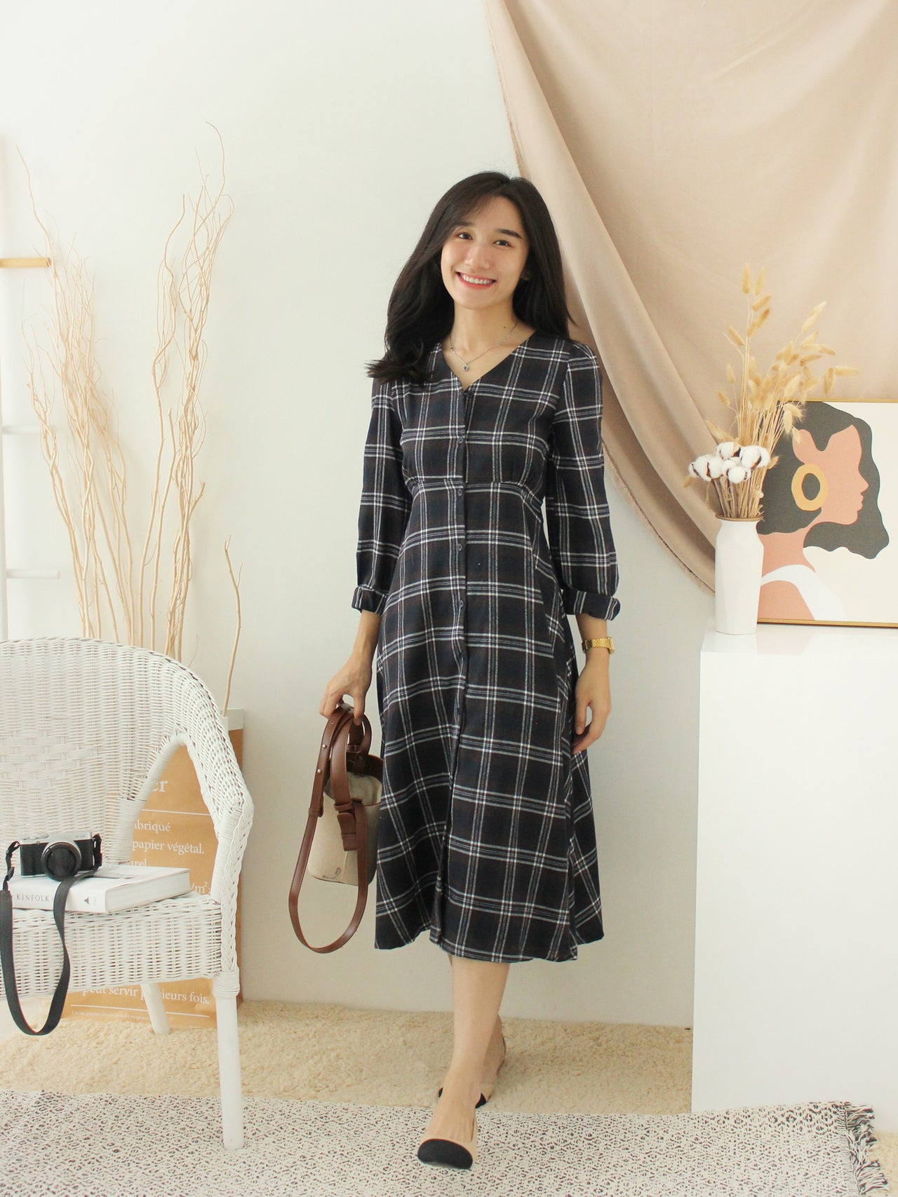 Korean Checkered Dress