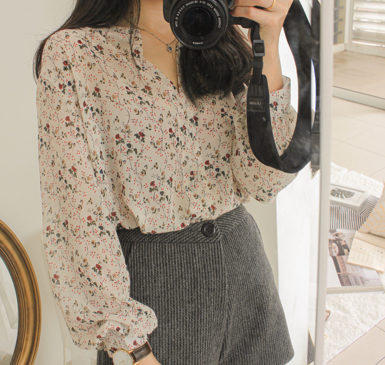 Floral Sheer Blouse - LovelyMadness Clothing Online Fashion Malaysia