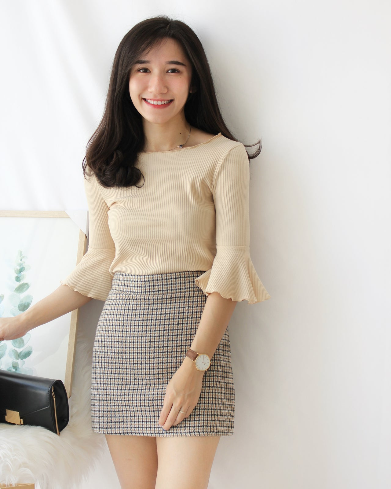 Woolen Checkered Skirt - LovelyMadness Clothing Online Fashion Malaysia