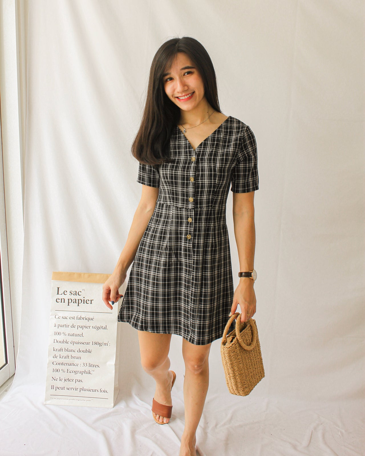 Checkered Button Dress - Lovely Madness
