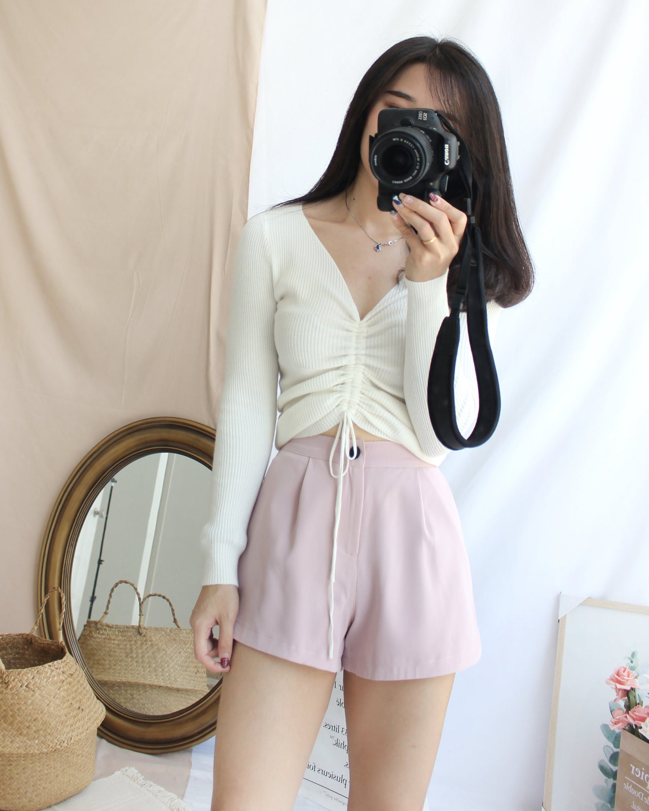Drawstring Knitted Top - LovelyMadness Clothing Online Fashion Malaysia