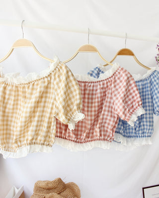 Checkered Lace Off Shoulder - LovelyMadness Clothing Online Fashion Malaysia