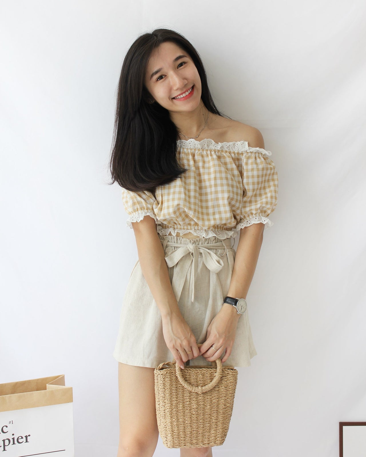 Checkered Lace Off Shoulder - Lovely Madness