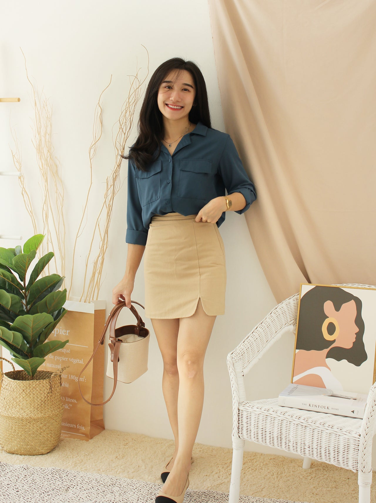 Korean TwoPocket Blouse