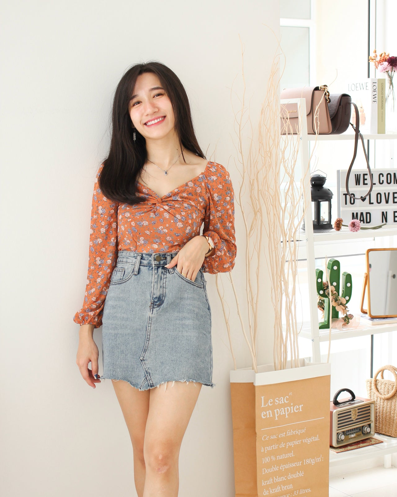 Vintage Floral Knot Top - LovelyMadness Clothing Online Fashion Malaysia