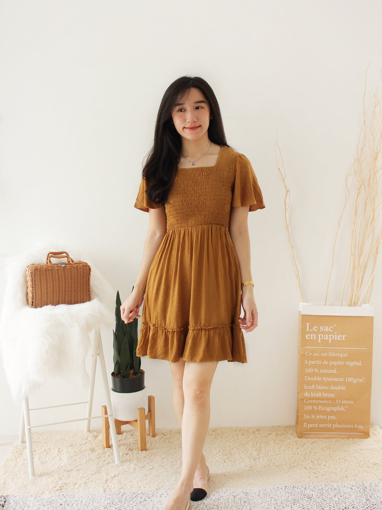 CAMEL RUFFLE DRESS