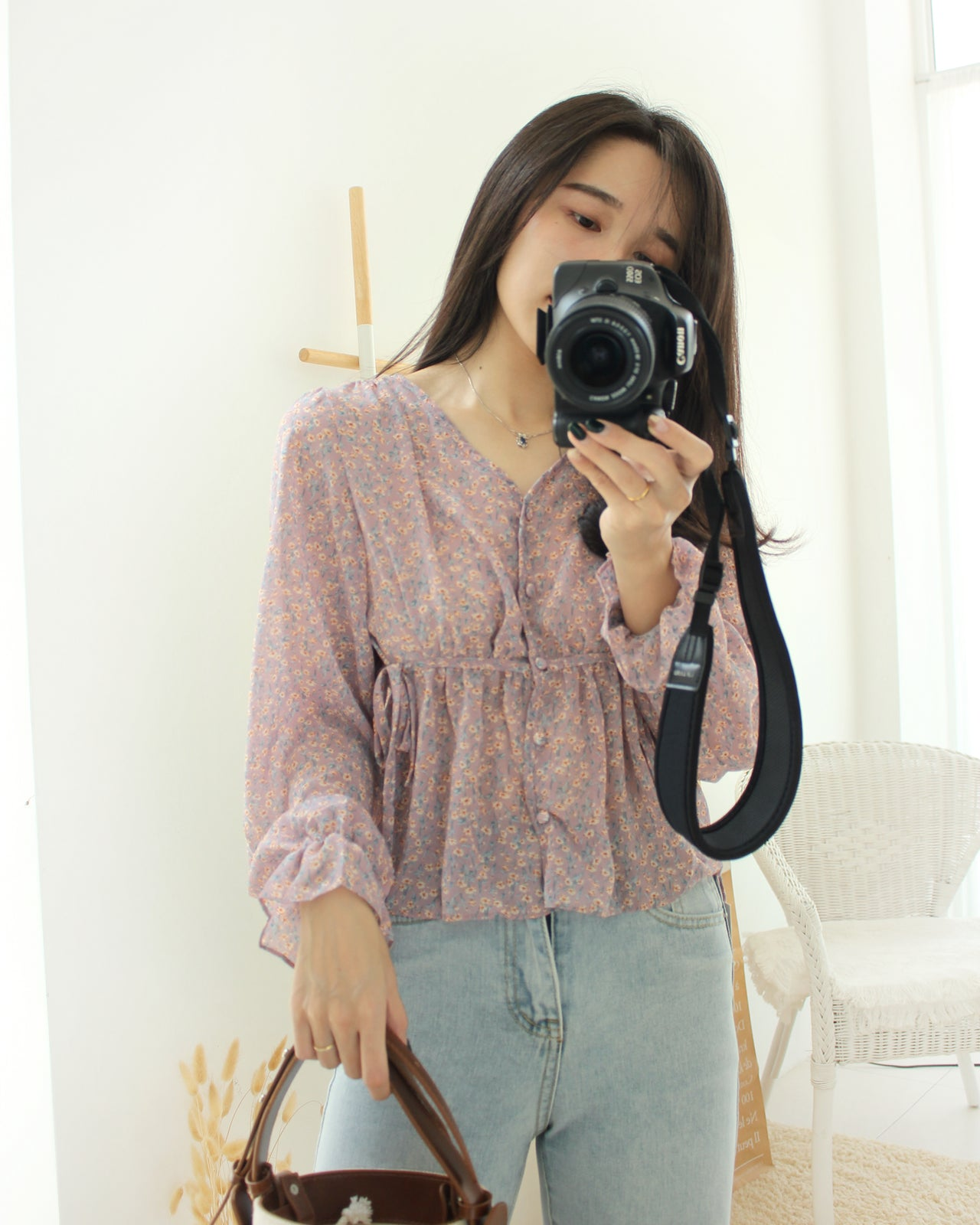 Purple Floral Blouse - LovelyMadness Clothing Online Fashion Malaysia
