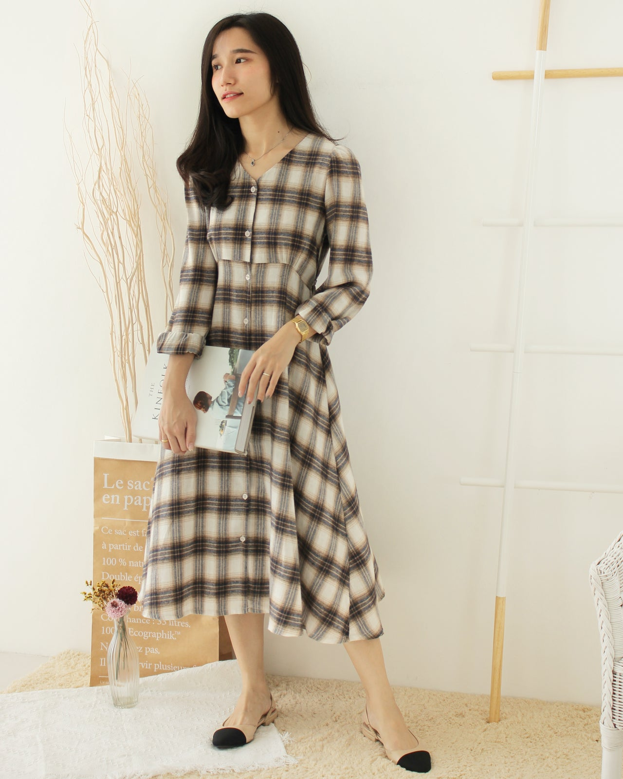 Korean Checkered Dress - LovelyMadness Clothing Online Fashion Malaysia