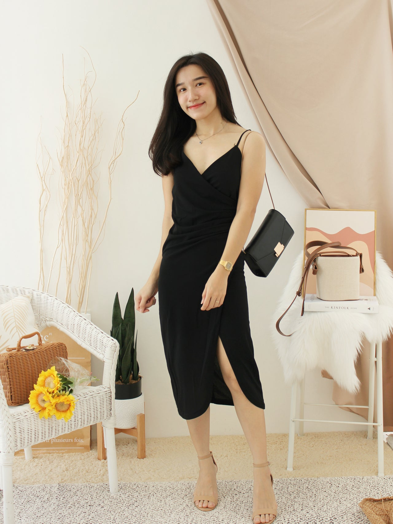 Deep V Split Dress - LovelyMadness Clothing Malaysia