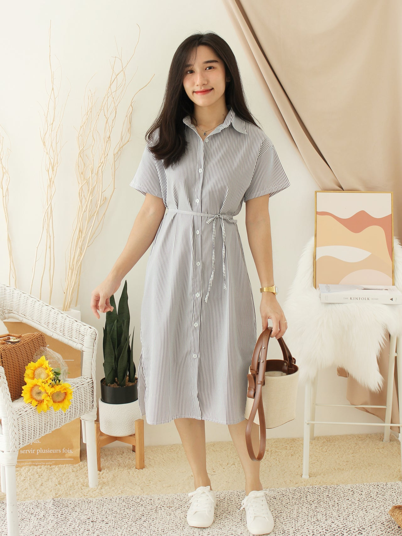 SHAY Stripe Button Dress