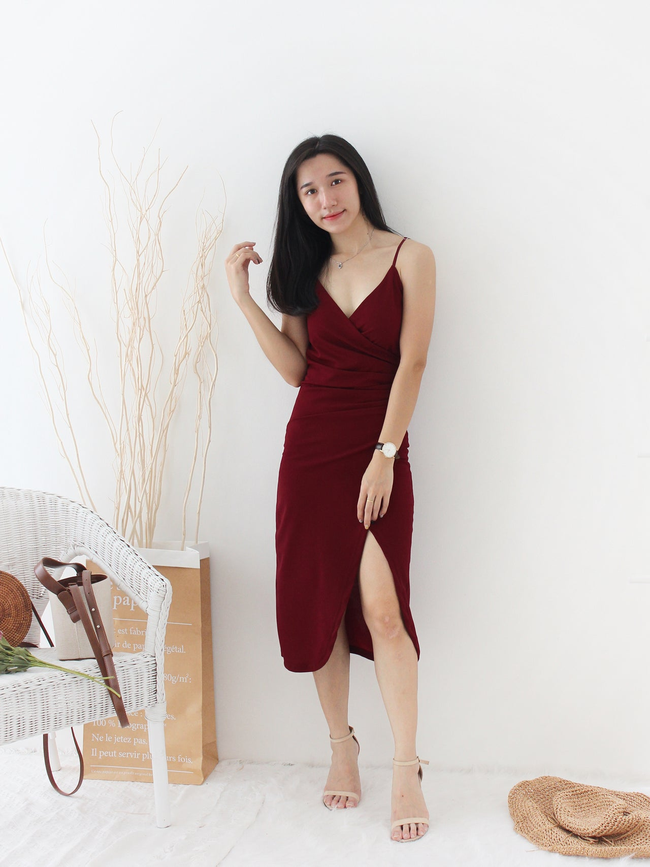 Deep V Split Dress - LovelyMadness Clothing Online Fashion Malaysia