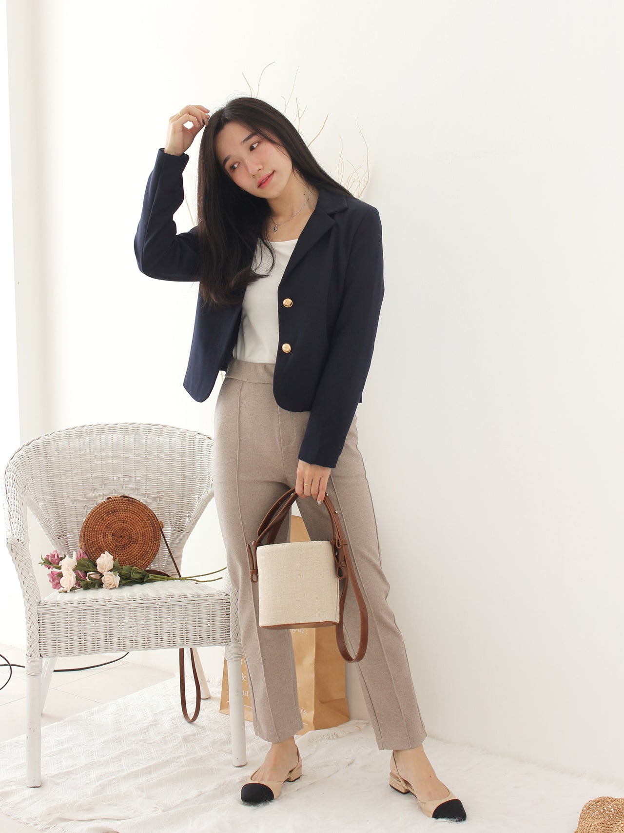 Korea Navy Blazer - LovelyMadness Clothing Online Fashion Malaysia