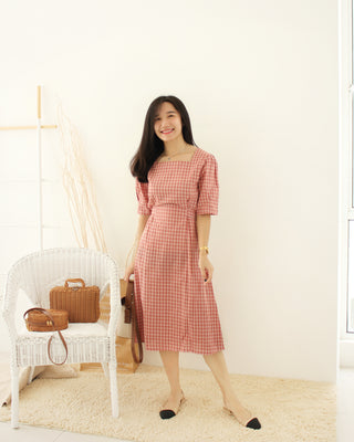 Korean PINK Plaid Dress - LovelyMadness Clothing Online Fashion Malaysia