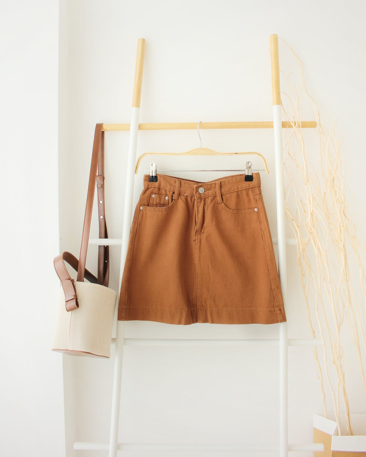 Camel Jeans Skirt - LovelyMadness Clothing Online Fashion Malaysia