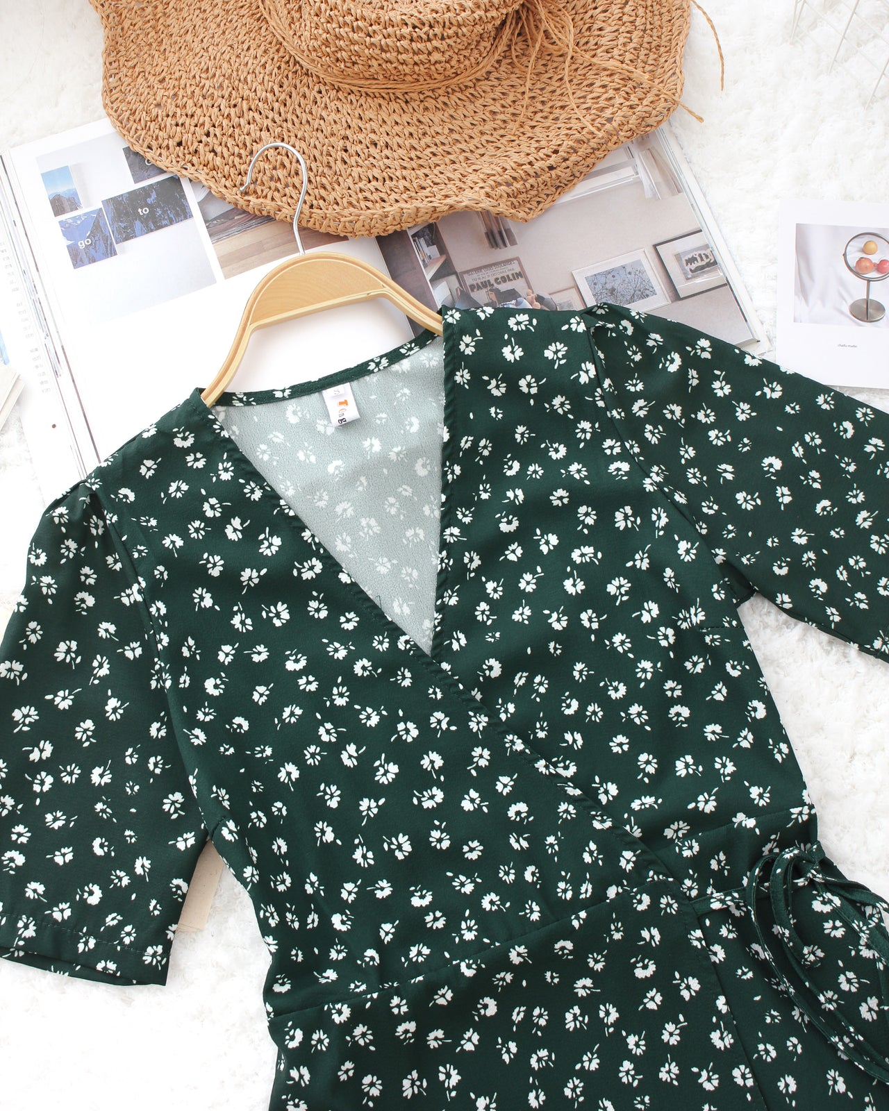 Green Floral Wrap Dress - LovelyMadness Clothing Online Fashion Malaysia