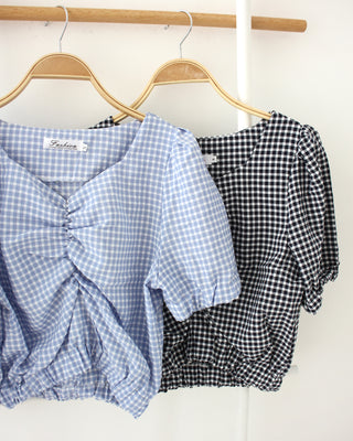 Plaid Drawstring Top