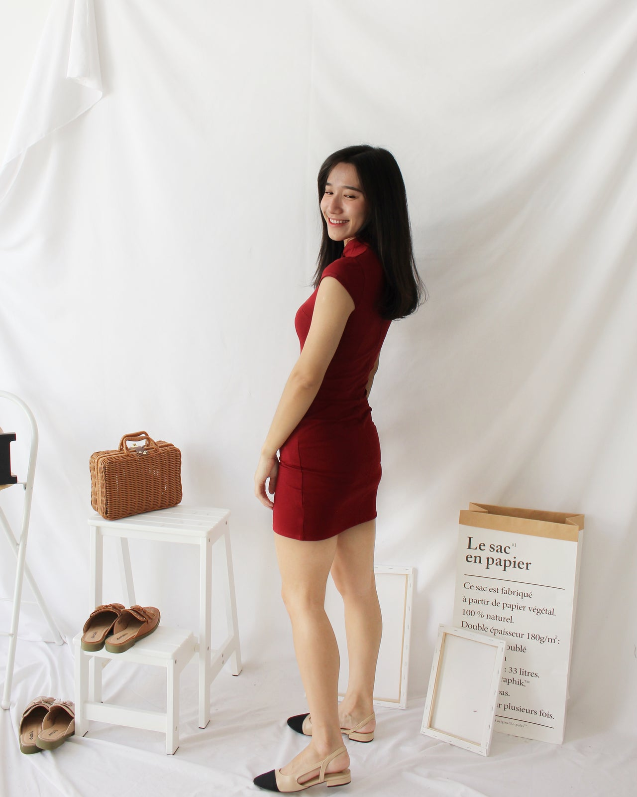Maroon Cheongsam - LovelyMadness Clothing Online Fashion Malaysia