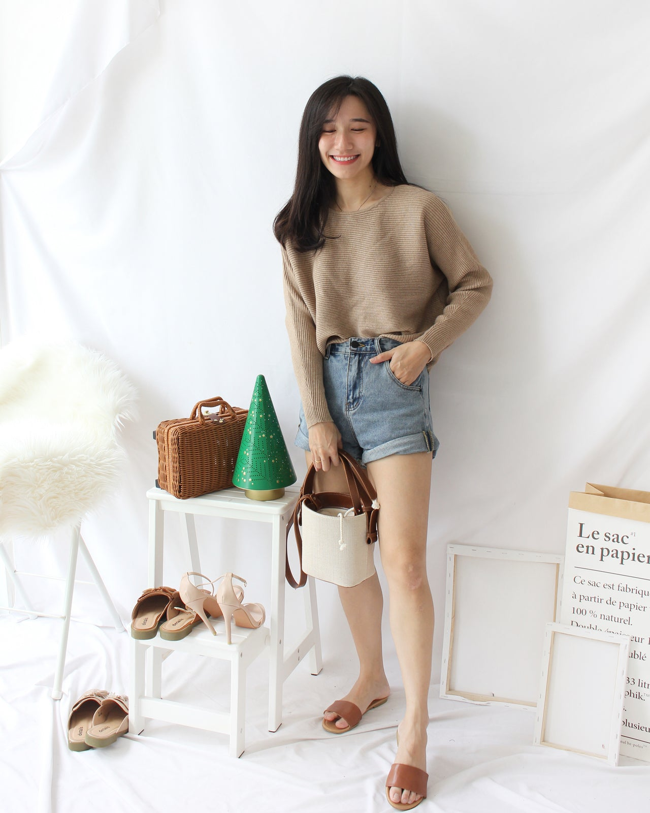 Denim Rolled Hem - LovelyMadness Clothing Online Fashion Malaysia