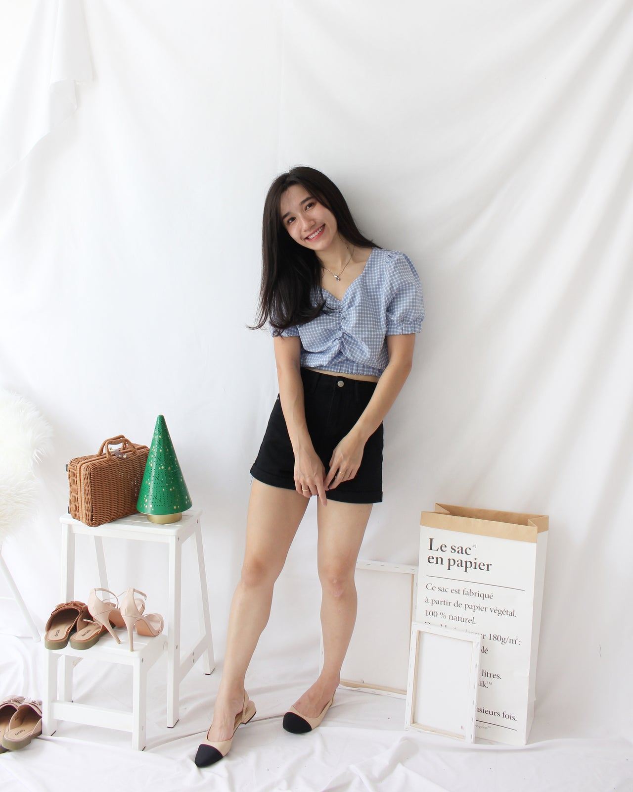 Plaid Drawstring Top - LovelyMadness Clothing Online Fashion Malaysia