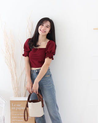 Maroon Puffy Top - LovelyMadness Clothing Online Fashion Malaysia