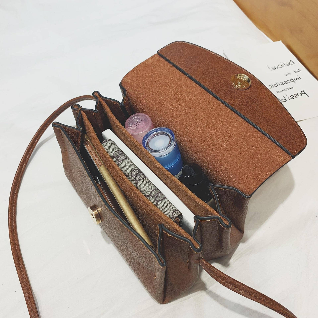Brown Leather Sling Bag - Lovely Madness