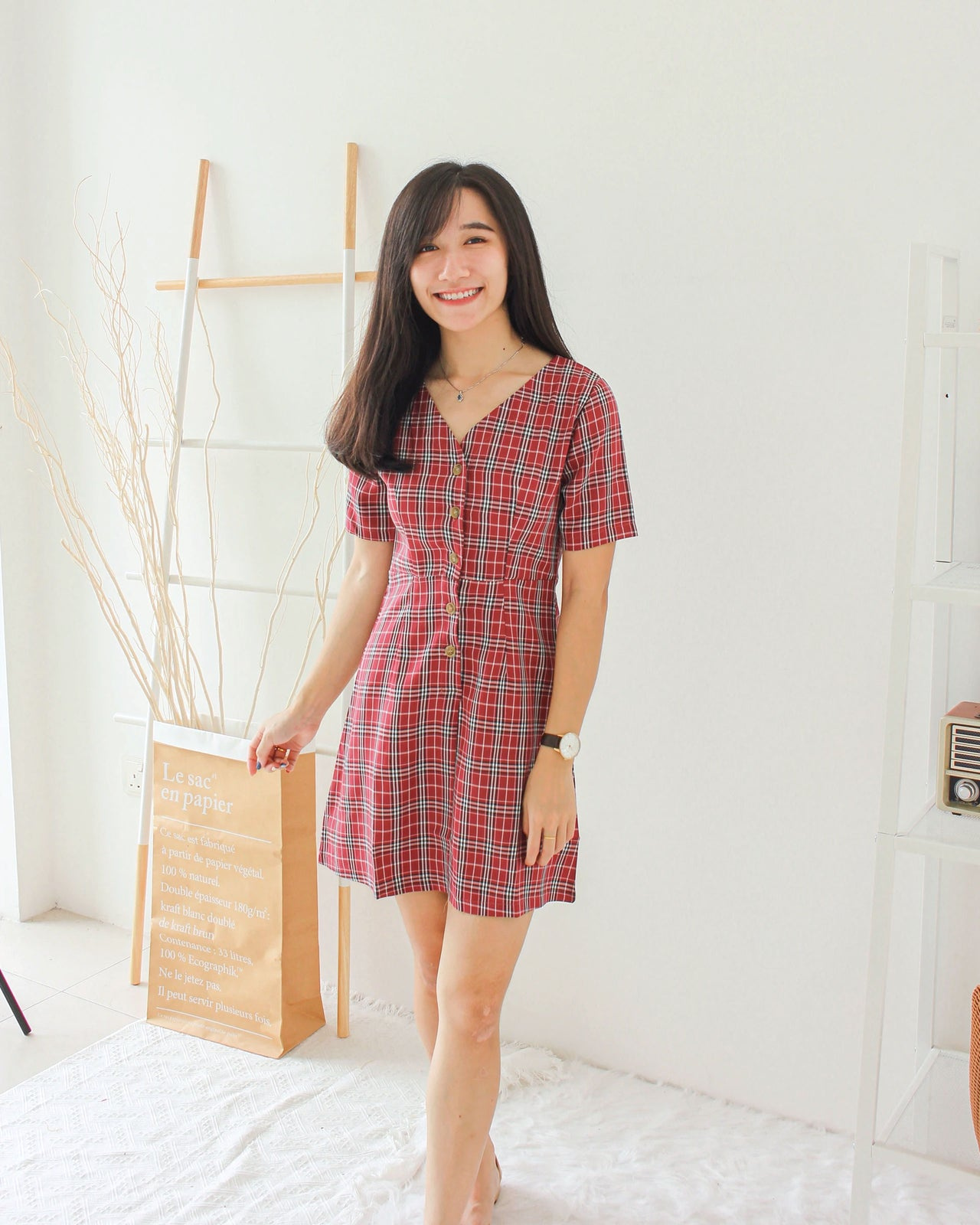 Checkered Button Dress - LovelyMadness Clothing Online Fashion Malaysia