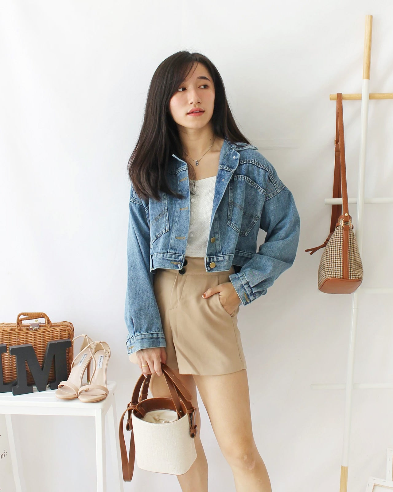 Denim Cropped BatSleeve - LovelyMadness Clothing Online Fashion Malaysia